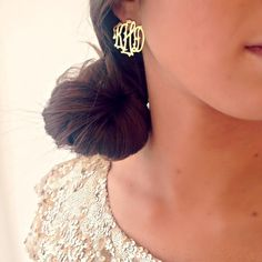 gorg gold monogrammed earrings...such a cute holiday look!