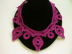 Crochet Necklace in Plum with Beads