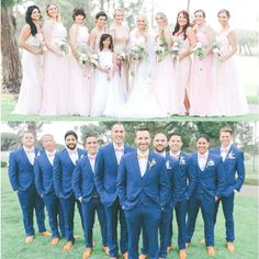 Wedding Groomsmen suits should be paid as much attention as bridesmaid dresses! We mean, they are your best friends, your brothers, the men that will see you get married even if you get cold feet! We have covered wedding attire groom related, but your groomsmen need their very own unique wedding tuxedos or suits or outfits that will make everyone know that those are the great men who will stand by your side while you go through the best day in your life and all those days to come! Blue Suit Wedding, Wedding Suits, Wedding Attire, Wedding Bridesmaids, Wedding Colors, Wedding Dresses, Trendy Wedding, Light Pink Bridesmaid Dresses, Wedding Tuxedos