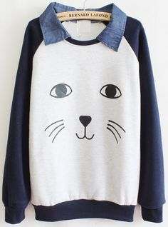 White Contrast Blue Cat Face Print Sweatshirt US$29.18