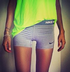 Perfect Running Outfit. Spandex. Grey. Neon Tank. Thigh Gap. Fitspo. Run. Gym. Train. Women. Nike's Almighty.