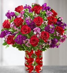 flowers in red and purple.