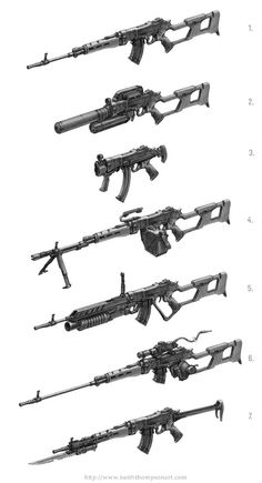 Russian OTs-Modular IWS: 1. General Purpose- Standard issue, and with a universal application in mind, this frame presents a basic weapon for infantry use. 2. Black Ops Role- This rifle is intended for clandestine and internationally illegal roles in assassination and hostile territory reconnaissance. A large, baffled sound suppressor surrounds the shortened barrel. The magazine in question is actually an under-barrel helical system housing 50 rounds. A padded brass catcher covers the whole…
