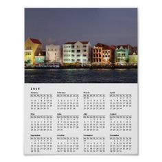 Willemstad Curacao nightly Panorama 2015 Calendar