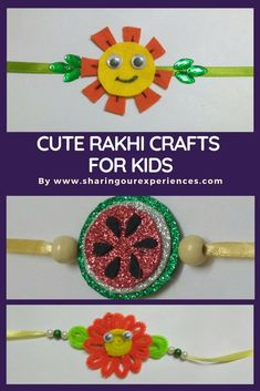 Cute and Easy Rakhi crafts for kids. This Rakhsabandhan make your own Rakhi with foam, pipe cleaners and threads Arts And Crafts For Teens, Easy Arts And Crafts, Crafts For Girls, Diy For Kids, Fun Crafts, Paper Crafts, Wood Crafts, Handmade Rakhi Designs, Rakhi Making