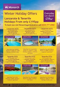 Winter offers, grab that sunshine is beautiful destinations with some AMAZING prices, call 0800 975 7584 for prices and availability today