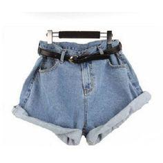 Geometric Loose High Waist Denim Shorts