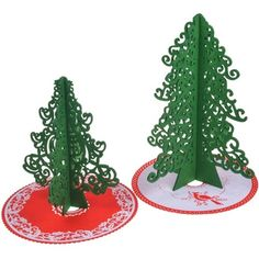 Outdoor Indoor Green Cartoon Mini Artificial Christmas Trees with Cristmas Tree Skirt Wool Hair Felt Artificial Xmas Trees