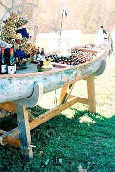 canoe boat wedding drink station ideas wedding food 25 Creative Outdoor Wedding Drink Station and Bar Ideas - EmmaLovesWeddings Boat Wedding, Woodsy Wedding, Camp Wedding, Destination Wedding, Wedding Beach, Beach Weddings, Lake Theme Wedding, Lake Wedding Ideas, Camping Wedding Theme