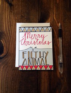 Merry Christmas Ya Filthy Animal, Home Alone, Holiday Card, Hand Drawn Note Card on Etsy, $4.00