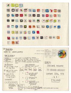 Dear-Data (www.dear-data.com) Week 50- A week of our phones, Postcard by Giorgia