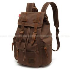 Men Women Travel Canvas Backpack Rucksack Camping Laptop Hiking School Book  Bag Features Condition  New Material  Canvas with Real Leather Colour   Coffee ... da32d9741a