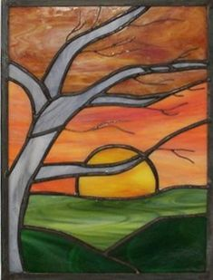 tree and sunset stained glass