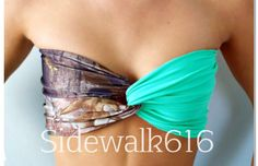 Camo and turquoise bathing suit