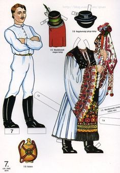 A unique paper doll book from Hungary with 10 pages of paper dolls and their… Fabric Doll Pattern, Fabric Dolls, Doll Patterns, Usa Culture, Polish Folk Art, Costumes Around The World, Paper Dolls Printable, Vintage Paper Dolls, Retro Toys