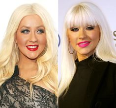 Christina Aguilera. Dark red lipstick, blonde hair, and a one-shoulder lace black dress, or bright pink lipstick, bangs with platinum blonde straight locks!