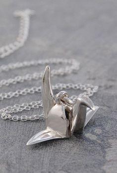 Origami Crane Necklace Silver