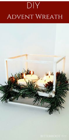DIY Advent Wreath | christmas crafts, diy christmas, beginner woodworking projects #christmas #woodworking #adventwreath #christmascrafts