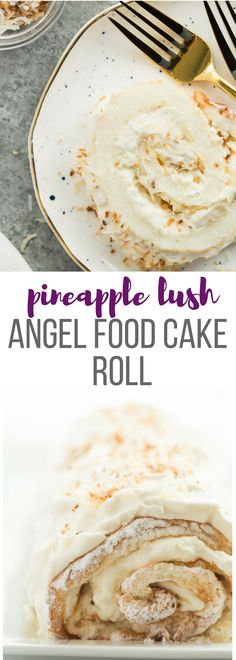 This Pineapple Lush Angel Food Cake Roll is a new twist on the popular Angel Lush recipe! It's a fun dessert for Easter or Spring that's big on flavour and not too heavy. The perfect way to end a big holiday dinner! Includes step by step recipe video. | Posted By: DebbieNet.com
