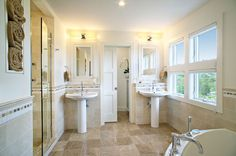 Master bathroom ideas -- love everything except the floor and the wall lights