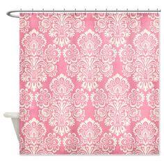 Trendy Vintage Pink Damask Shower Curtain www.cafepress.com