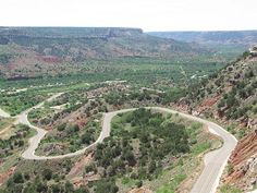 Palo Duro Canyon view of winding road to Campground