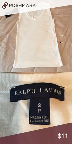 Ralph Lauren Small (petite) White Ralph Lauren sleeveless shirt. V-neck. Size small (petite). Worn twice. Ralph Lauren Tops Tank Tops