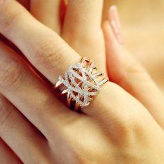"""Tangle"" Diamond Crossover Ring – Plukka – Shop Fine Jewelry Online"