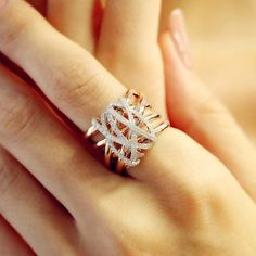 """Tangle"" Diamond Crossover Ring – Plukka – Shop Fine Jewelry Online"
