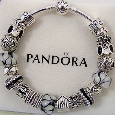 Authentic Pandora Bracelet Bangle or Clasp Sterling Silver Black White Tone