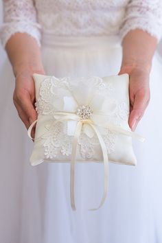 Handmade Wedding Ring Bearer Pillow White by TheLittleWhiteDress Handmade in the USA Wedding Ring Cushion, Cushion Ring, Wedding Pillows, Ring Bearer Pillows, Ring Pillows, Handmade Wedding Rings, Lace Ring, Ring Holder Wedding, Beautiful Wedding Rings
