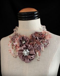 LA JOIE Dusty Rose Textile Mixed Media Statement Bib Necklace