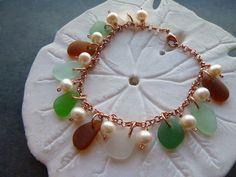 Sea Glass Bracelet Charms Beach Seaglass by TheMysticMermaid