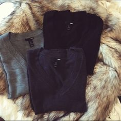 3 for $30 H&M v-neck sweaters NOT ZARA. V-neck sweaters from H&M in black, heather gray, and light gray. (Photos displayed in that sequence.) Well loved items. Can be sold separately for $15 each.   🚫NO TRADES  ✅20% off bundles  ✅free shipping on orders $50+ H&M Sweaters V-Necks