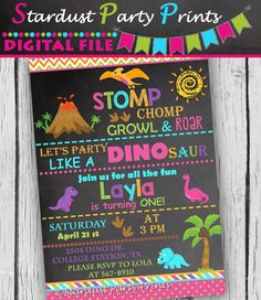 Girl Dinosaur Invitation Girl Dinosaur by StardustPartyPrints Double Birthday Parties, Third Birthday, Birthday Fun, Birthday Ideas, Husband Birthday, Birthday Gifts, Girl Dinosaur Birthday, Dinosaur Party, Dinosaur Invitations