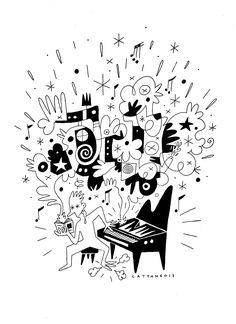 "Stéphane Cattanéo • ""Allumé du jazz"" • Encre sur papier • KAZoART  #art #artcontemporain #contemporaryart #oeuvre #galeriedart #artgallery #encre #musique #music #jazz"