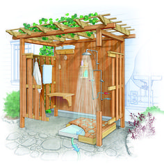 Outdoor Bathrooms 682295412279113429 - Creating an Outdoor Shower – FineGardening Source by Outside Showers, Outdoor Showers, Outdoor Zelt, Outdoor Shower Enclosure, Outdoor Glider, Diy Terrasse, Garden Shower, Outdoor Bathrooms, Outdoor Kitchens