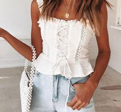JaMerry Vintage sexy white lace women tank tops Strap ruffle crop top camis female Summer hollow out lace up camisole tops Summer Outfits, Cute Outfits, Cheap Tank Tops, Inspiration Mode, Cami Crop Top, Spring Summer Fashion, Dress To Impress, Ideias Fashion, Dressing
