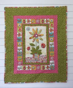 Pink and Green Baby Girl Ladybug Quilt by Sundancers on Etsy, $75.00