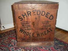 "Vintage Antique Original ""shredded Wheat Co."" Wooden Shipping Crate Early 1900s"