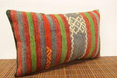 Decorative lumbar kilim pillow 12 x 20 Anatolian by kilimwarehouse, $48.00