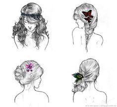 desenhos de cabelos femininos tumblr - Pesquisa Google