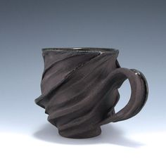 Carved Sculptural Ceramic Cup in Chocolate Brown by jtceramics, $70.00