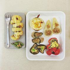 morning morning Tuesday :-J))) #goodmorning #morning #breakfast #yummy #goodfood #instafood #onthetable  #homemade #foodie #foodstagram #foodphoto #top_food_of_instagram #S_S_iloveBreakfast #朝食 #早餐 #烘培 #パン #麵包 #野菜 #baking #bread #mayotuna_chikuwa_bread #roasted_miso_tofu_porkmince_bambooshoots #roasted_cheese_egg_onion #roasted_okra_tofu_redpepper  #roasted_miso_tofu_porkmince_greenpepper #roasted_vegetable