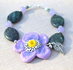 Turquoise Lavender Boho Chunky Bracelet Cold by PeeGeeJewelry, $20.00