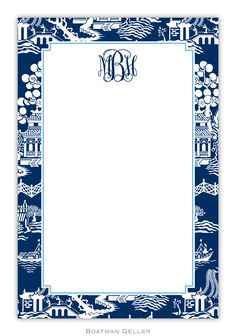 These personalized notepads feature a navy chinoiserie design and make a distinctive and thoughtful gift!  A set of notepads contains 2 notepads with 50 sheets each. The prices below are for each set of 2 pads.  Boatman Geller note pads do not come with envelopes.