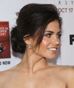 View yourself with this Jenna Dewan Long Straight Brunette Updo Brunette Updo, Loose Hairstyles, Pretty Hairstyles, Updo Hairstyle, Jenna Dewan Hair, Casual Hair Updos, Straight Updo, Bridesmaid Hair Updo, Bridesmaids