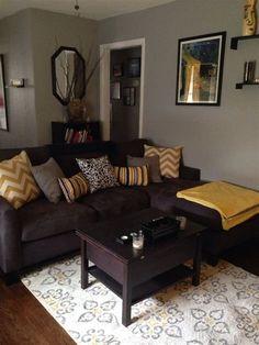 Living room paint ideas brown furniture living room colors with brown couch living room color schemes Grey And Yellow Living Room, Brown Couch Living Room, Dark Living Rooms, Living Room Paint, New Living Room, Small Living, Dark Rooms, Grey Yellow, Rv Living