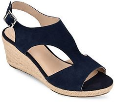 Amp up your wardrobe with these sweet and sassy espadrille wedge sandals. They feature a braided, T-strap design and a wrapped, heel. From Bandolino. Blue Wedge Sandals, Leather Wedge Sandals, Espadrille Wedge, Low Wedge Shoes, Sandal Wedges, Navy Sandals, Comfortable Wedges, Low Wedges, Ankle Strap Wedges