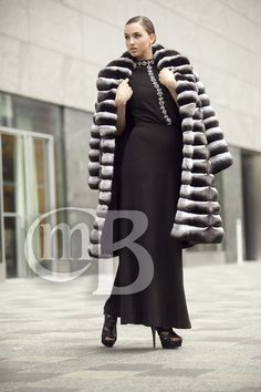 BLACK VELVET CHINCHILLA COAT